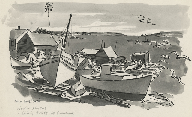 Bernard Brussel-Smith, 'Lobster Shacks and Fishing Boats at Greenhead [Maine]', ca. 1954, Drawing, Collage or other Work on Paper, Ink and ink wash on paper, Childs Gallery