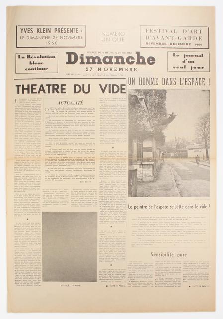 Yves Klein, 'Dimanche: Le Journal d'un Seul Jour', 1960, Benjamin Ogilvy Projects