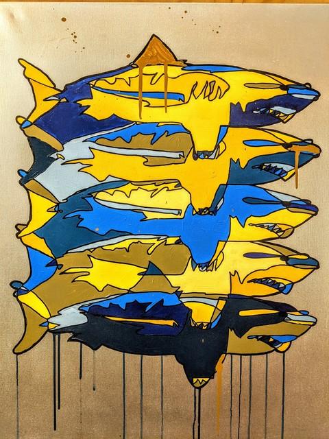 , '5 Sharks on silver,' 2019, SHIM Art Network