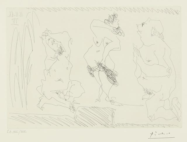 Pablo Picasso, 'Scène de Théâtre: Danseuse et deux vieillards (B. 1410; Ba. 1425)', Print, Etching, Sotheby's