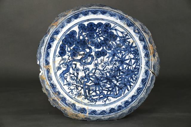 , 'Garden seat top with pine, bamboo and plum in blue and white,' Zhengtong to Tianshun, Ming Dynasty(1436, 1464), Art Museum of the Chinese University of Hong Kong