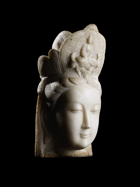 Unknown Artist, 'A large Hebei white marble head of Guanyin 河北漢白玉觀音頭像', 1801-1900, Rasti Chinese Art