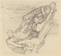 John Flaxman, 'Figure Being Transported through the Air', Drawing, Collage or other Work on Paper, Pen and gray ink over graphite on laid paper, National Gallery of Art, Washington, D.C.