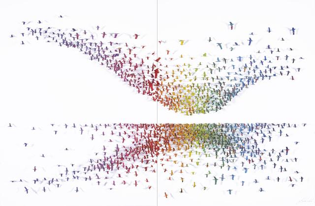 , 'Crescendo (Diptych) - Birds On White,' 2018, Blue Gallery