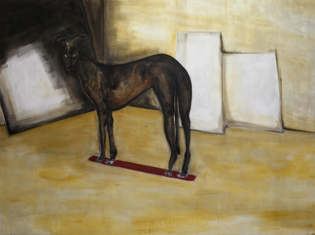 , 'Dog standing on red line (no square),' 2016, Galerie Bart
