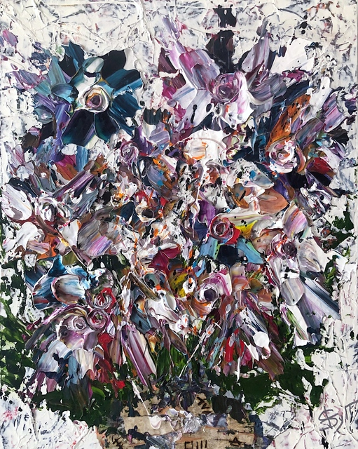 SylT, 'Flower Explosion', 2021, Painting, Mixed media on board, Thompson Landry Gallery