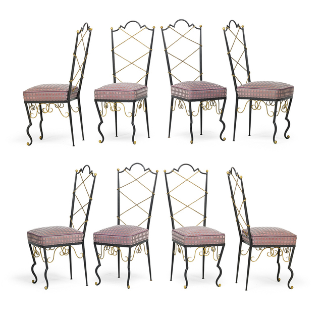 René Prou, 'Set Of Eight Dining Chairs, France', 1940s, Rago/Wright