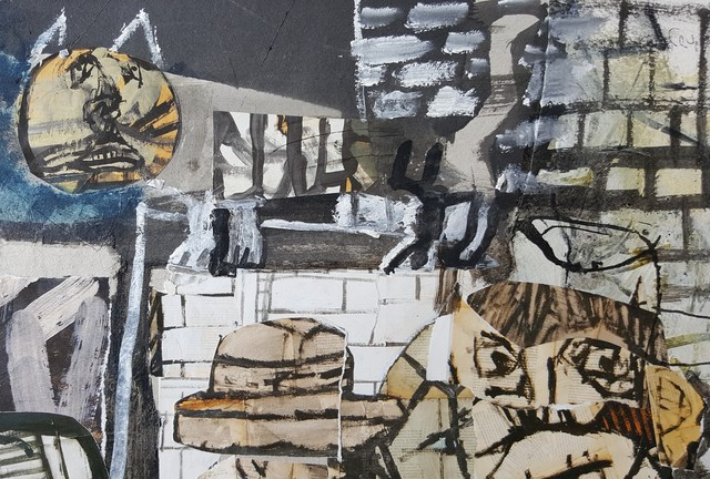 Sergio Moscona, 'Grey sky', 2017, Painting, Acrylic and collage on cardboard, Galerie Claire Corcia