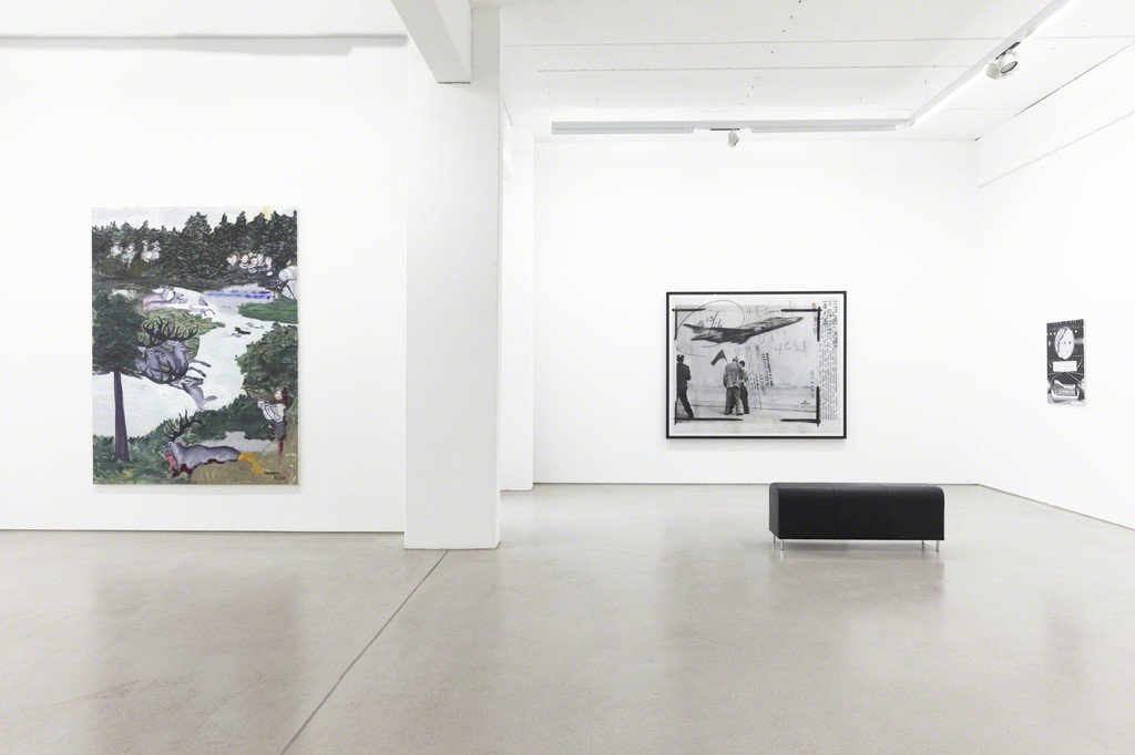 "from left to right: Jeanette Mundt ""Believe me"" (2016), Thomas Ruff ""press++20.33"" (2015) & Benjamin Dittrich ""KEN17-SW"" (2016), installation view of the exhibition NEW ACQUISITIONS – Hildebrand Collection, 1 February – 7 May 2017, G2 Kunsthalle Leipzig photo: Dotgain.info © the artists & G2 Kunsthalle Leipzig / VG Bild-Kunst, Bonn 2017 (Ruff, Dittrich)"