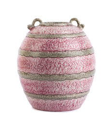 Pink and gray wavy striped vase