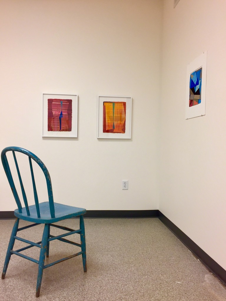 "Installation view 5 – l to r, ""Sentinel #1"" and ""Sentinel #2"", ""Stacked spaces – Imaginary places #4"""