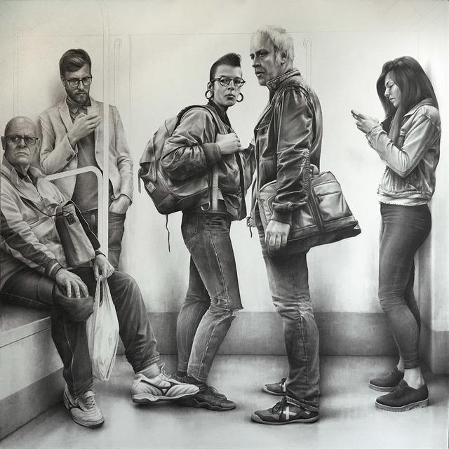 Raul Barrilado, 'En su mundo IX', ca. 2019, Painting, Graphite on canvas, Galeria Jordi Barnadas