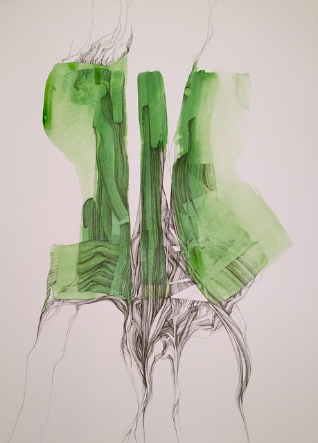 ", 'Structural impressions on color ""green"",' 2015, Alessandro Berni Gallery"