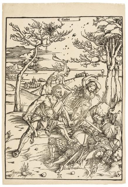 Albrecht Dürer, 'Hercules conquering Cacus (Hercules conquering the Molionide Twins)', 1496, Print, Woodcut, Forum Auctions