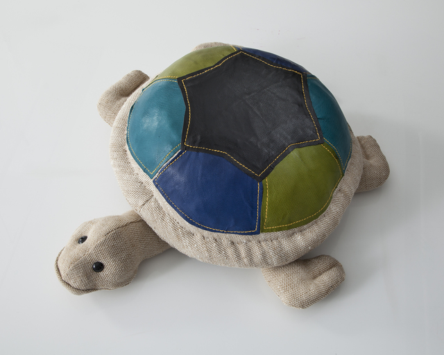 ", '""Therapeutic Toy"" Turtle in natural jute with colored leather detailing. Designed and made by Renate Müller, Germany, 2013.,' 2013, R & Company"