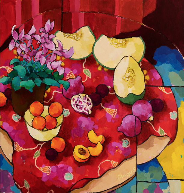 , 'Cyclamen with Peaches, Plums and Honeydew,' 2019, Ventana Fine Art