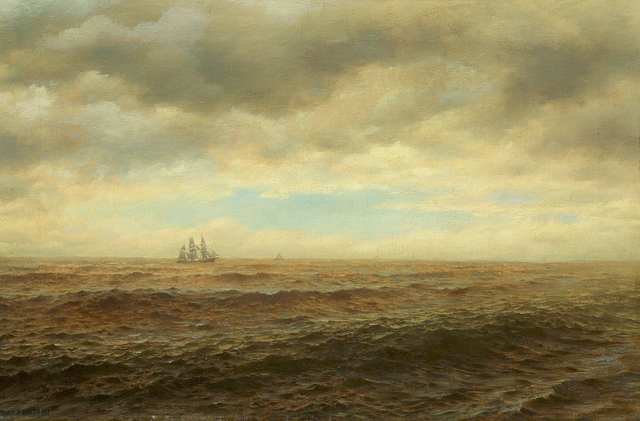 , 'Sailing Ship on the Horizon,' 1880, Questroyal Fine Art