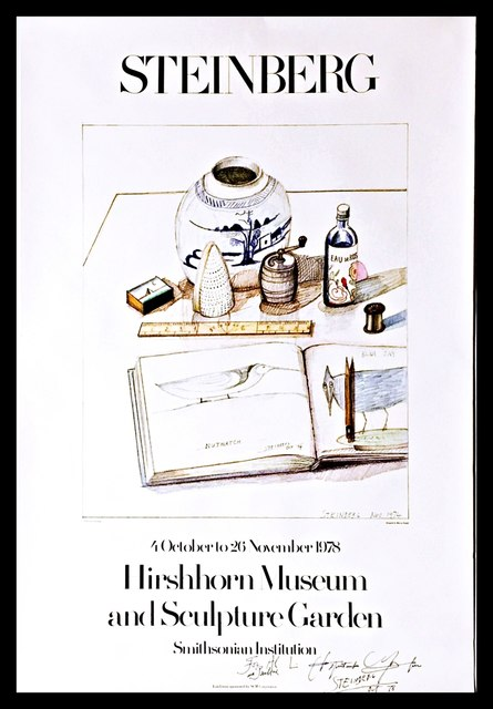 "Saul Steinberg, 'Hirshhorn Museum and Sculpture Garden Exhibition, Hand Signed & Inscribed to the first director of the Hirshhorn Museum, Abram ""Al"" Lerner and his wife Pauline', 1978, Alpha 137 Gallery"
