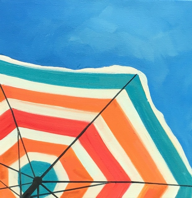 ", '""Bright Umbrella"" Oil Painting of an orange, red and teal Striped Beach Umbrella in a Sunny blue Sky,' 2010-2018, Eisenhauer Gallery"