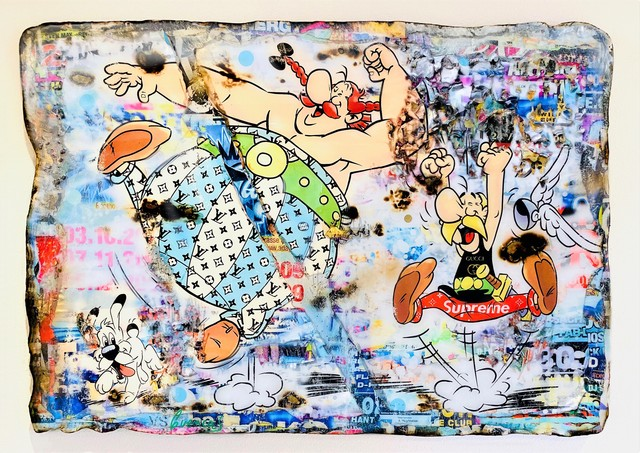 Adriano Cuencas, 'Life is Fun', 2020, Painting, Collage & Mixed Media on cardboard, Samhart Gallery