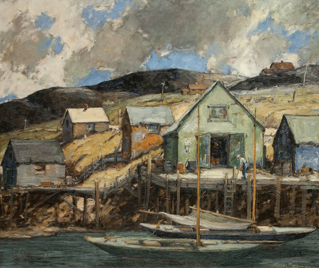 Walter Farndon, 'Boathouse and Dock in Storm, Nova Scotia, Canada', 19th -20th Century, Painting, Oil on canvas, Vose Galleries