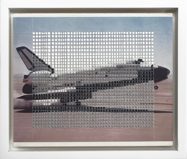 Nina Tichava, 'Borrowed Landscapes Study No.175/ FL, NASA, Space Shuttle', 2018, Painting, Tape, graphite and acrylic on found vintage postcard, k contemporary