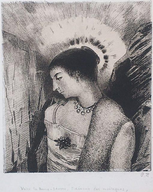 Odilon Redon, 'Voici la Bonne-Déese, L'Idéenne des Montagnes', 1900, Print, Lithograph on chine appliqué, on a full sheet with deckle edges., Catherine E. Burns Fine Prints