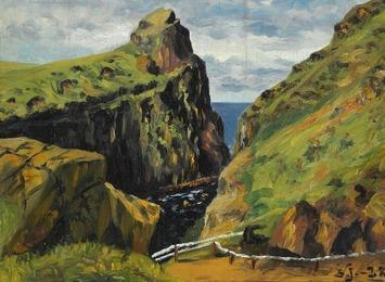 View towards the bridge to Mykenes Holmen, the Faroe Islands