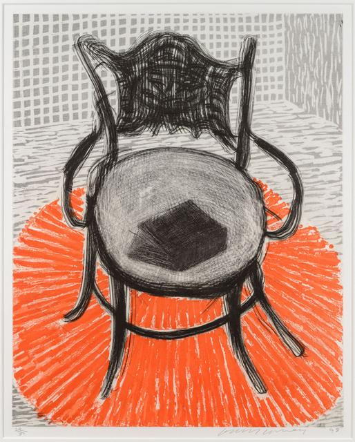 David Hockney, 'Chair with Book on Red Carpet', 1998, Leslie Sacks Gallery