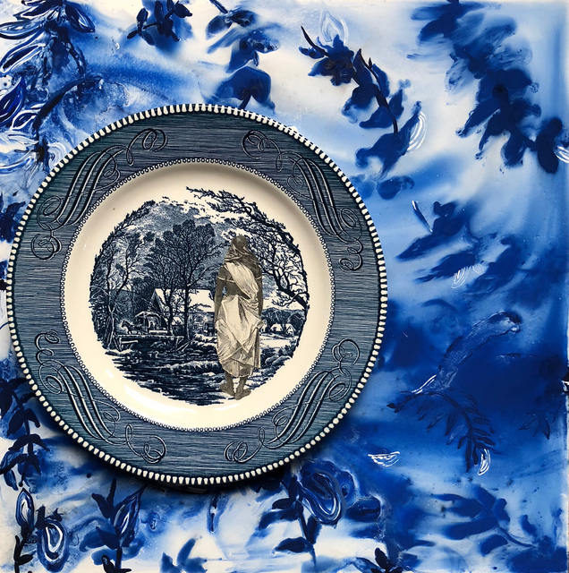 Suchitra Mattai, 'Ice Jungle', 2018, Painting, British newspaper clipping, vintage plate, gouche on wood, k contemporary