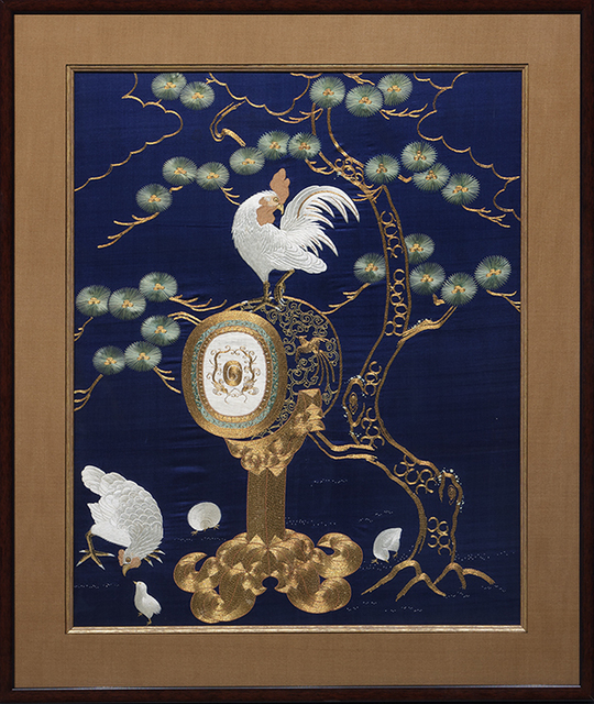 Unknown Japanese, 'Drum and Fowl, Fukusa', Edo Period (1603-1868), Heather James Gallery Auction