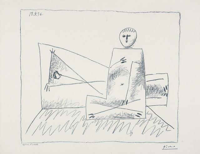 , 'Homme couche et femme accroupie,' 1956, Thomas French Fine Art