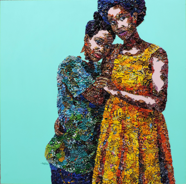 Marcellina Akpojotor, 'Sister Sister ', 2019, Mixed Media, Fabric, Acrylic on canvas, Rele