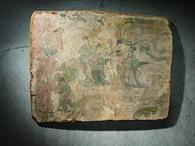 Unknown Artist, 'A Polychrome Fresco Fragment of Rectangular Form Painted with Six Female Attendants 元晚期|明早期14|15世紀 灰泥彩繪侍女圖壁畫殘部', China: late Yuan|early Ming Dynasty-14|15th century, Rasti Chinese Art