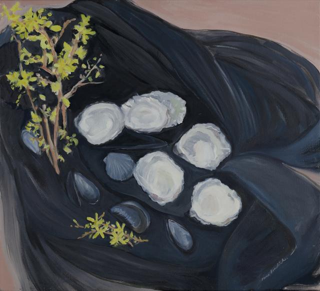 Jane Freilicher, 'Seashells and Forsythia', 1983, Painting, Oil on linen, Kasmin