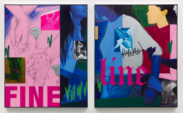 Gabriella Sanchez, 'Define, Fine, Refine ', 2020, Painting, Acrylic, oil stick, graphite, oil pastel,  archival pigment prints on two canvases  in high polished aluminum frames, Charlie James Gallery