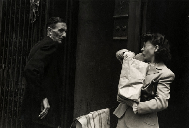 Helen Levitt, 'N.Y.C. (man and woman with package)', ca. 1942, Laurence Miller Gallery