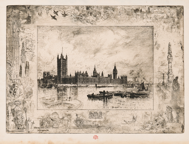 Félix Hilaire Buhot, 'Westminster Palace', 1884, Print, Etching and drypoint on laid paper, Skinner