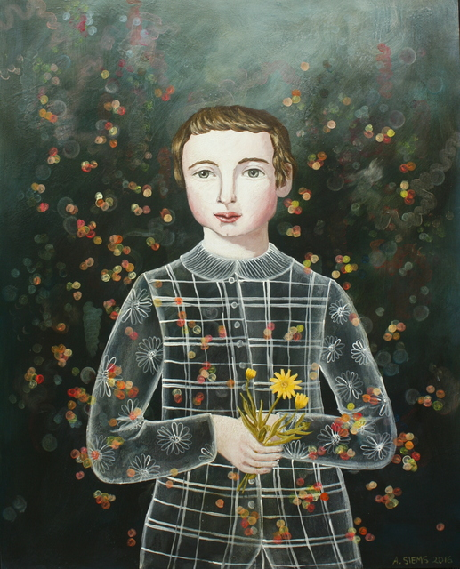 Anne Siems, 'Boy with Calendula', 2017, Painting, Acrylic on panel, DECORAZONgallery