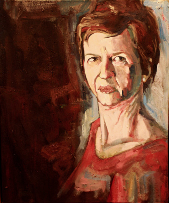 """""""Portrait in Red"""" by Dave Hardin. Oil on Canvas. 19.5"""" x 23.5"""""""