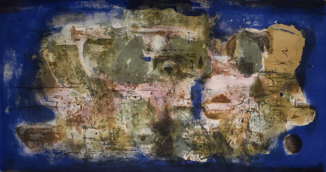 Zao Wou-Ki 趙無極, ' Engulfed Town | Ville engloutie', 1956, Print, Original Hand Signed, Dated and Numbered Lithograph in Colours on BFK Rives Wove Paper, Gilden's Art Gallery