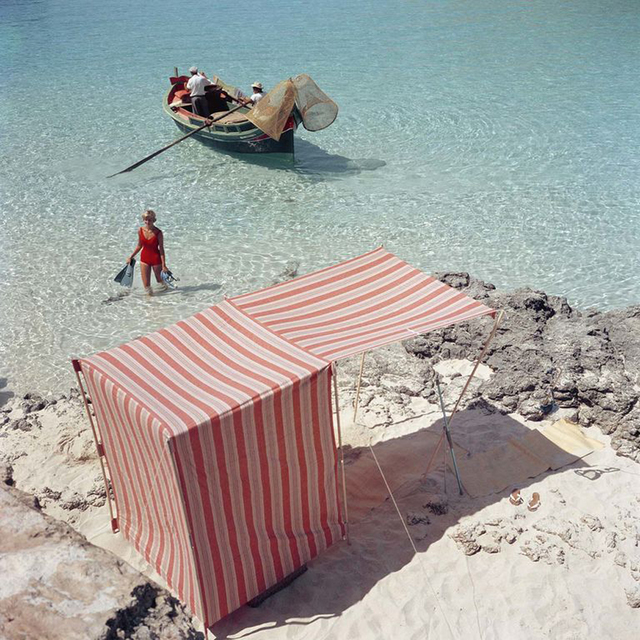 Slim Aarons, 'Marietine Birnie, Blue Lagoon, Kemmuna (Slim Aarons Estate Edition)', 1959, Undercurrent Projects