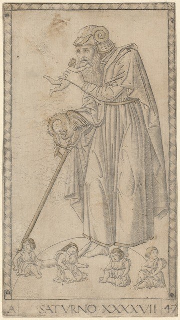 Master of the E-Series Tarocchi, 'Saturno (Saturn)', ca. 1465, Print, Engraving with traces of gilding, National Gallery of Art, Washington, D.C.