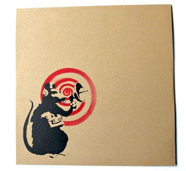 "Banksy, '""Future"" (Radar Rat) Dirty Funker album cover (Brown)', 2007, Dope! Gallery"