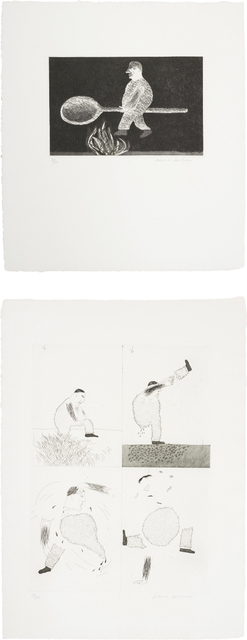 David Hockney, 'Riding around on a Cooking Spoon; and He Tore Himself in Two, plates 38 and 39 from Illustrations for Six Fairy Tales from the Brothers Grimm', 1969, Phillips