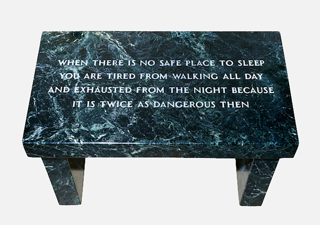 Jenny Holzer, 'Survival:When there is no safe place...,', 1997, Sculpture, Verde Antique Marble Footstool, uJung Art Center