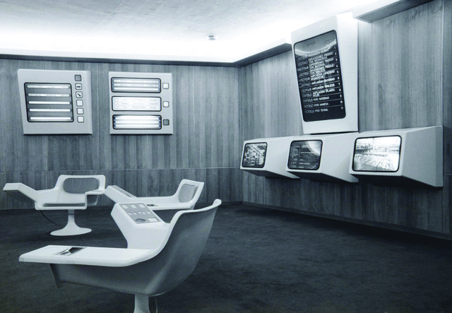 , 'Cybersyn Operations Room Datafeed with Chairs,' 1972-1973, Cantor Fitzgerald Gallery, Haverford College