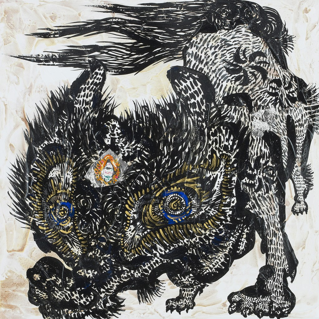 Miwa Komatsu, Mountain Wolfs Under the Full Moon, 2019, acrylic and mixedmedia on canvas, 41.0 × 41.0 × 6.4 cm