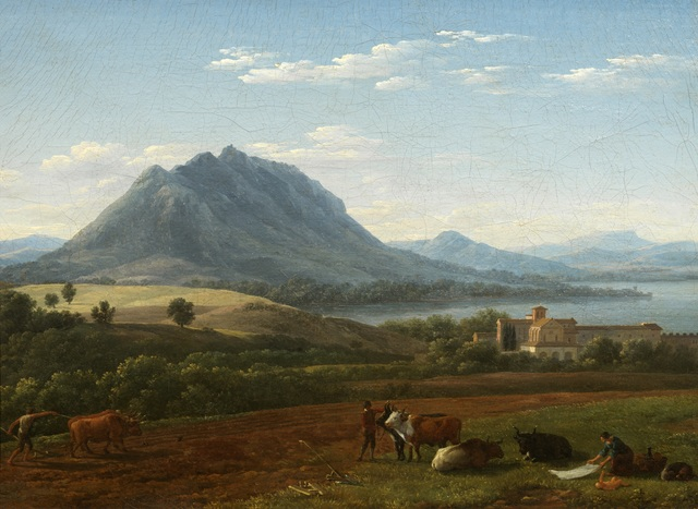 Jean Joseph Xavier Bidauld, 'An Arcadian landscape with figures and animals below Mount Soracte', 1791, DICKINSON