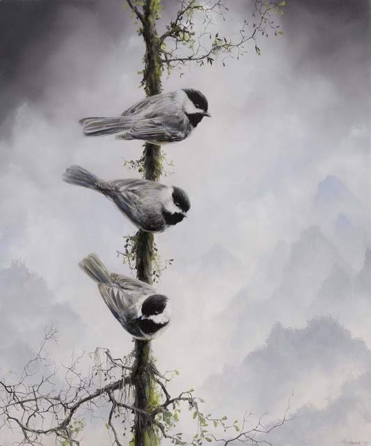 Brian Mashburn, 'Three Chickadees', 2021, Painting, Oil on panel, Haven Gallery